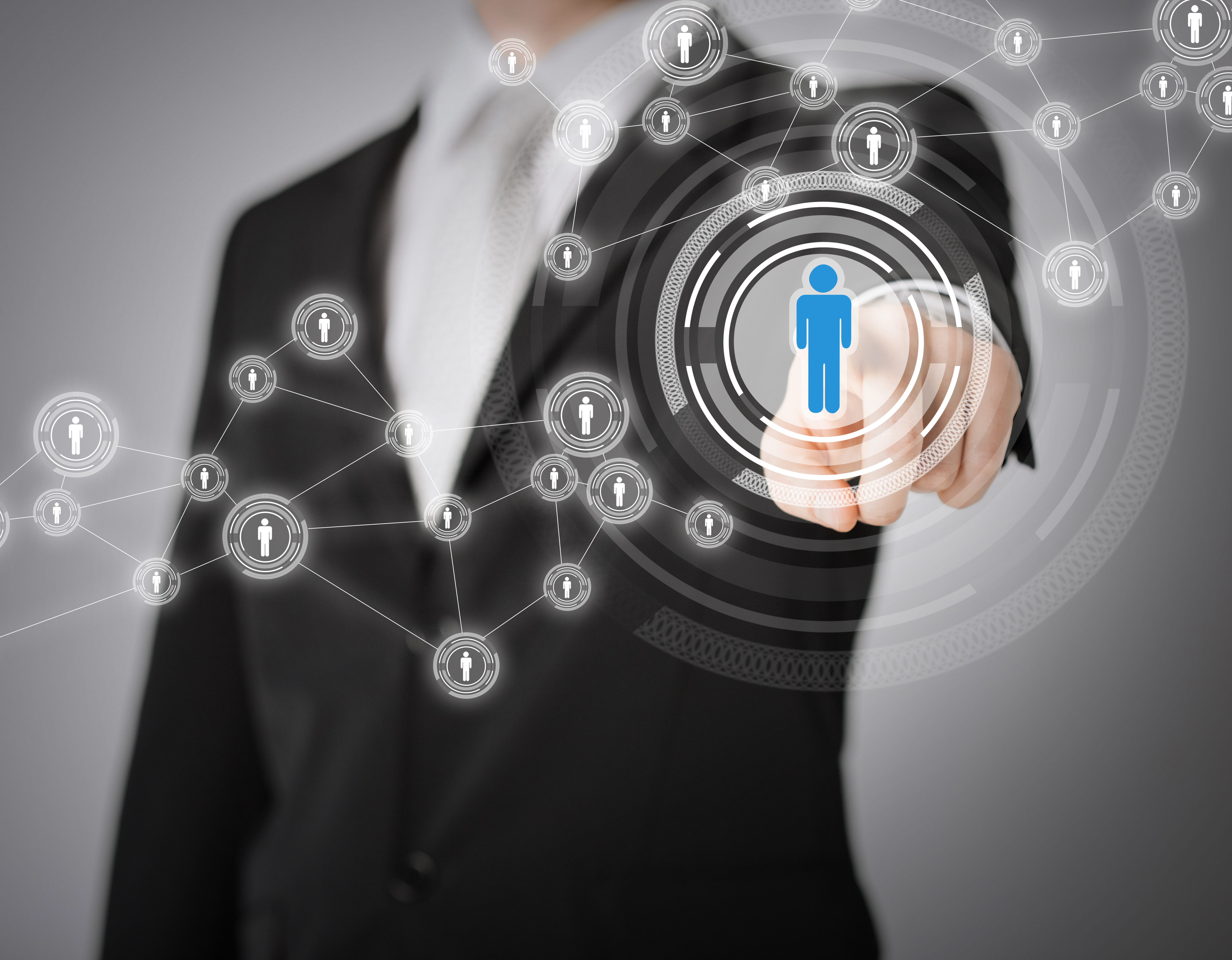 business, technology, internet and networking concept - businessman pressing button with contact on virtual screens
